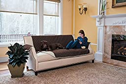 Stratton Collection Quilted Reversible Furniture Protector in Solid Colors By Home Fashion Designs Brand (Sofa, Chocolate / Ivory)