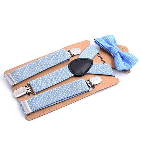 Child Kids Boys Suspenders Bowtie Set - Adjustable Suspender Set for Boys and Girls (Light Blue)