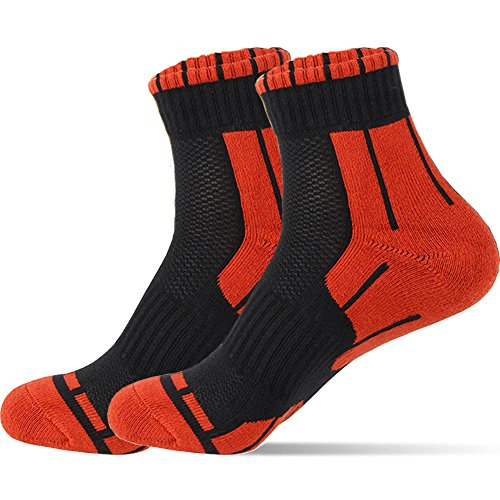 4 Pairs/Pack Mens Athletic Socks Cotton Performance Basics Crew Socks for Running Basketball Tennis Fitness Casual (4 Pairs, Red)