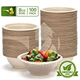 Disposable Paper Bowls - 100pack 8oz Compostable