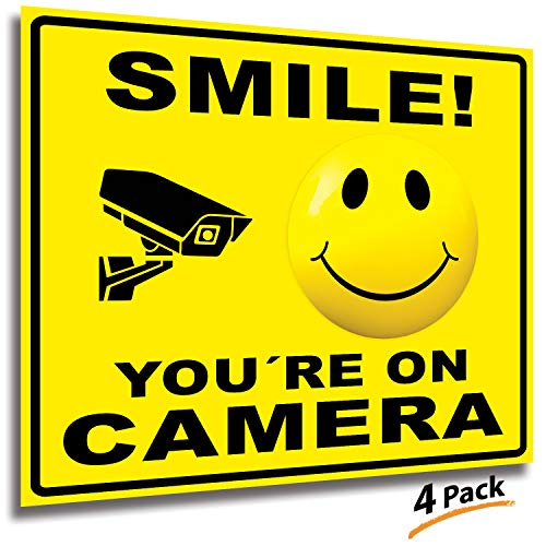 Smile You're On Camera Signs Stickers – 4 Pack 7x6 Inch – Premium Self-Adhesive Vinyl, Laminated for Ultimate UV, Weather, Scratch, Water and Fade Resistance, Indoor and Outdoor ()
