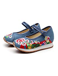Tianrui Crown Girl's Embroidery Flower Casual Traveling Shoes Sneaker Kid's Cute Sport Canvas Mary-Jane Shoe