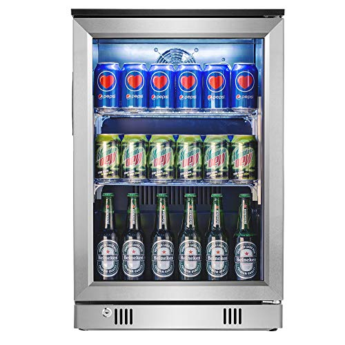 Advanics Frost Free Beverage Refrigerator 110 Can Mini Fridge Cooler with LED Lighting & Lock for Beer Cola or Soda, Stainless-Steel Trimed & Tempered Glass Door, SC-88F