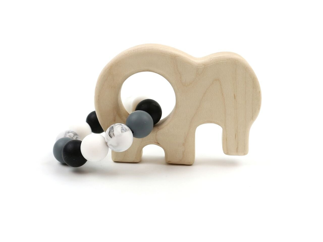 Elephant Wooden Teether w/Storm Beads