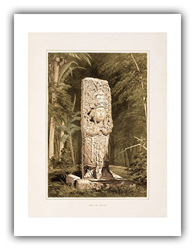 The Ibis Print Gallery - Frederick Catherwood : ''Idol at Copan (Plate 1)'' (Views of Ancient Monuments in Central America, Chiapas and Yucatan, 1844) - Giclee Fine Art Print