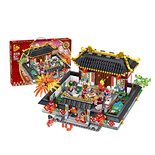 1566Pcs Compatible Legoingly Chinese Style New Year's Eve Dinner Building Blocks Set DIY Kits Bricks Educational Kids Toys ()