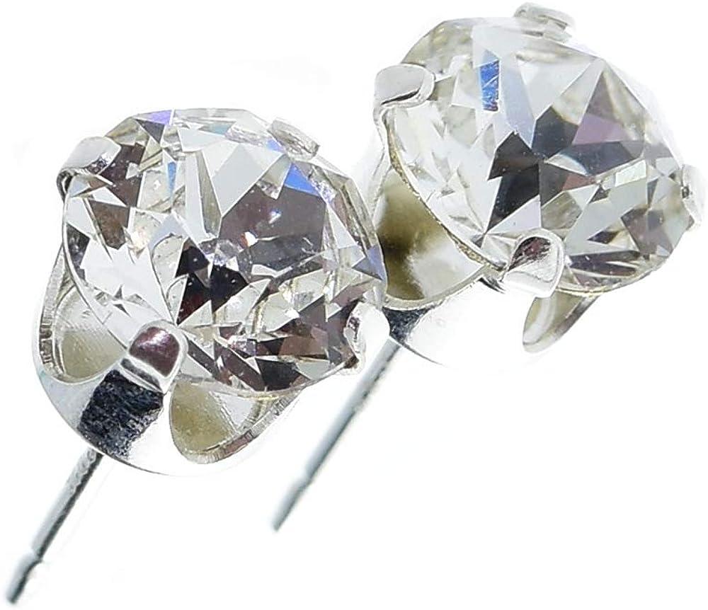 pewterhooter - Pendientes de plata de ley 925 para mujer, hechos con brillantes cristales blancos de Swarovski®, caja de regalo, fabricados en Londres, Inglaterra
