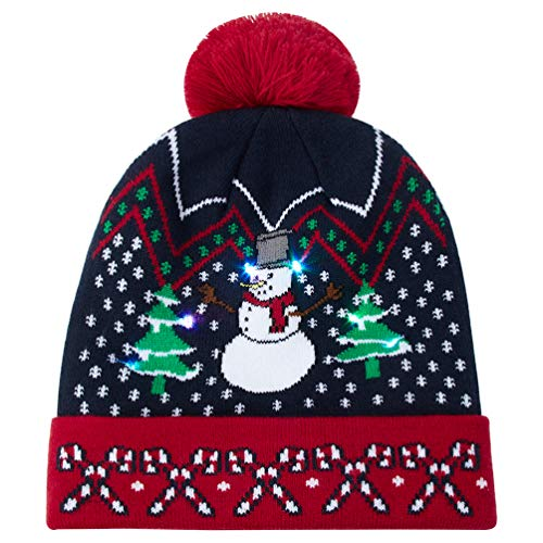 Uideazone Flashing Light Up Knitted Hat Snowman Printed Christmas Beanie Hats Holiday Cap