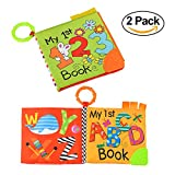 TUMAMA Soft Book for Babies, Baby First Cloth Books with Teether Number Alphabetic Learning Toys for Baby Bed, Boy Girl Pack of 2