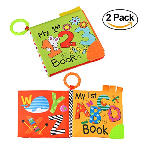 TUMAMA Soft Book for Babies Crinkle Cloth Books with Teether Number Alphabetic Learning Toys for Baby Bed, Boy Girl Pack of 2 - Animals Cloth Books