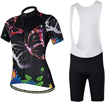 TZTED Maillot Ciclismo Mujer, Mariposa Negra Ciclismo Conjunto de ...