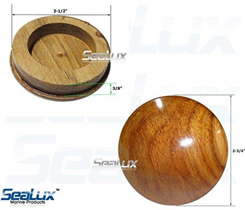 SeaLux Marine 2-5/8 INCH Genuine Teak Wood BOAT CENTER STEERING WHEEL CAP for Boat Destroyer Steel Wheels by SeaLux Marine Products (Image #7)
