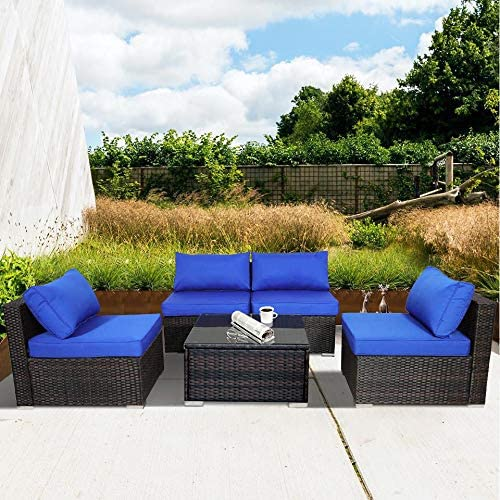 Outdoor Rattan Couch 5pcs Brown Wicker Sectional Conversation Sofa Set