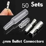 FidgetFidget Wire Connectors 50 Sets Car Bullet Crimp Terminal Male Female Socket w/Sheath
