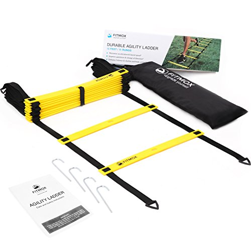 Fitmox Agility Ladder - Plus Bonuses: Best Exercise Programs and Carry Bag - Comes with 4 Durable Metal Pegs (15 feet Yellow)
