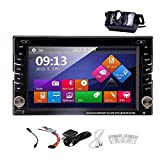 In-Dash 2 Din Car Autoradio Stereo Headunit CD DVD Player 6.2 Inch Touch Screen Bluetooth GPS Navigation System Auto Radio Video Audio FM AM MP3 Receiver with Free Backup Rear Camera