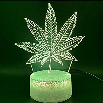 Illusion 3D Night Light Illusion Lámpara Led Botánica Cannabis Marihuana Oficina Bar Habitación Lámpara Decorativa Usb O Con Pilas Luz Nocturna Base Negra