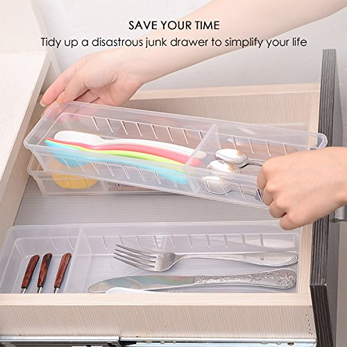 Drawer Organizer, Anumit Clear Plastic Storage Drawers with 2 Adjustable Drawer Dividers for Office, School, Kitchen, Dresser, Desk, Bedroom (2 Pack) by Anumit (Image #1)