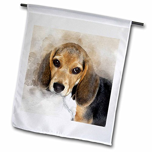 3dRose Adorable Beagle Puppy Watercolor - Garden Flag, 12 by 18