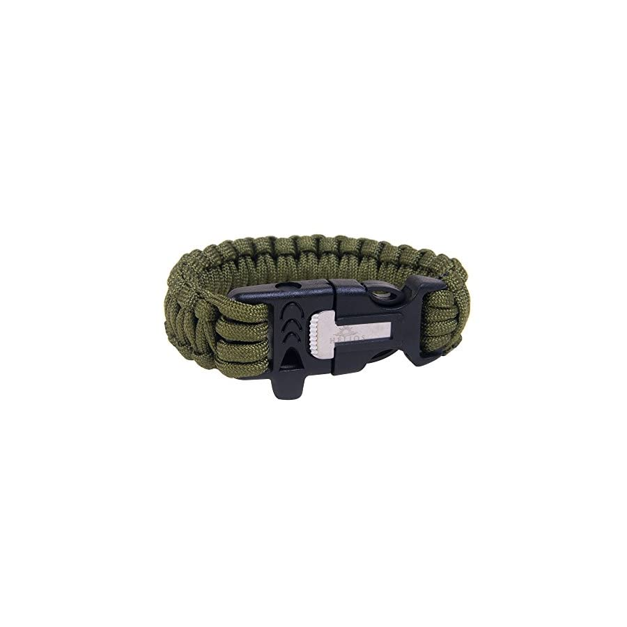 Helios Paracord Survival Bracelet Pack of 2 Wilderness Adventure Rope with Flint Fire Starter, Knife Scraper & Whistle Unisex Tactical Emergency Wristband for Outdoor Adventures Green & Black