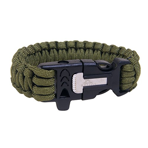 Helios Paracord Survival Bracelet Pack Of 2 By Wilderness Adventure Rope With Flint Fire Starter, Knife Scraper & Whistle Unisex Tactical Emergency Wristband For Outdoor Adventures Green & Black