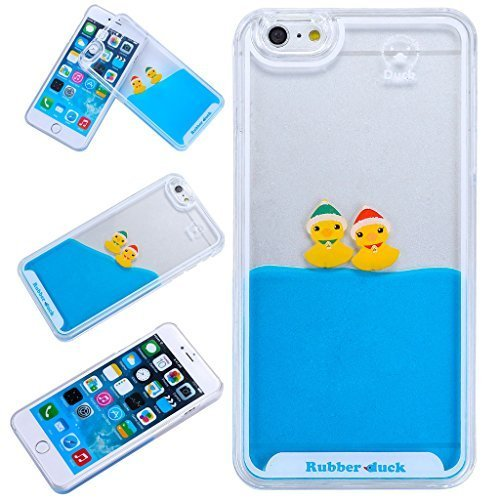 Yoption Liquid Case for iPhone 6Plus 6sPlus 5.5\'\', Clear Cute Creative Design Liquid Floating Rubber Duck Hard Case Cover for iPhone 6Plus 6sPlus 5.5\'\' (Ducks With Hat)