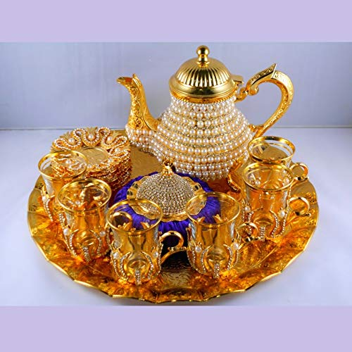 Pearl Coated Gold Turkish Tea Cups Set With Tea Pot