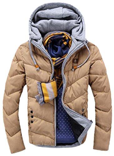 Khaki Coat Mens Thick Drawstring Hooded L Down EKU Sleeve Long Parka vUqxwZ8