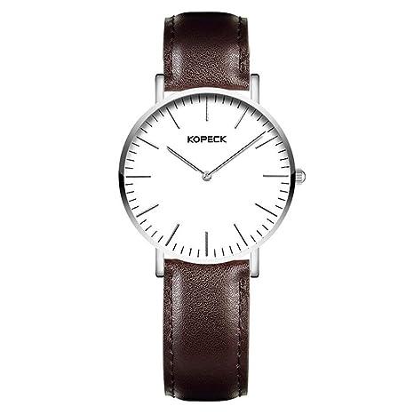 North King Pulsera de Cuarzo Relojes Fecha Pantalla Impermeable Grande Blanco Esfera Moda marrón Cuero Banda
