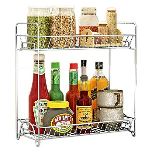 Spice Rack Organizer 2 Tier Rack Stainless Steel Spice Jars Bottle Stand Holder Kitchen Organizer Storage Kitchen Shelves Rack - Silver