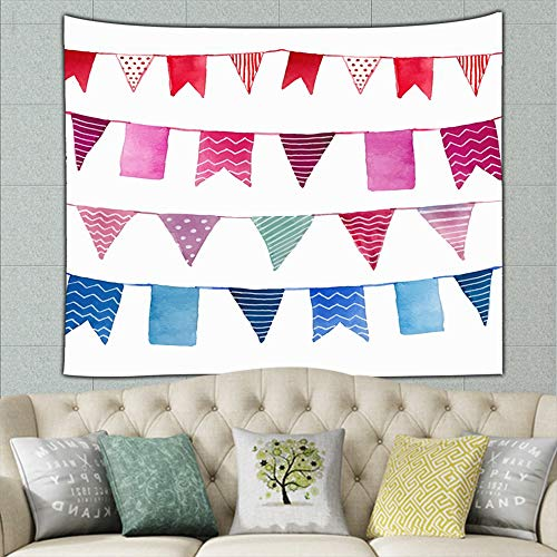 Abstractpillow Wall Hanging Bedding Tapestry,Watercolor Vintage Flags Garlands Set Objects,59.1x51.2 Inches