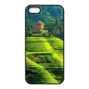 Okaycosama Funny IPhone 5,5S Cases Green Terraced Landscape for Women, Phone Case for Iphone 5s, {Black}