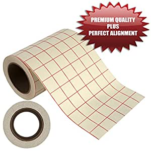 """Angel Crafts 6"""" by 50' PREMIUM Transfer Paper Tape Roll with Grid - PERFECT ALIGNMENT for Cricut or Silhouette Cameo Self Adhesive Vinyl for Walls, Signs, Decals, Windows, and More"""