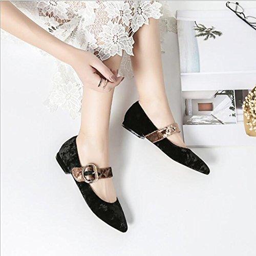 del cruzada Sandalias suave Zapatos tobillo Tela Negro de medias de Correa grueso las mujeres Sandalias cruzadas Jane ZZZJR talón mujeres paño grueso y las del Mary Correas del de adTzwAKqZ