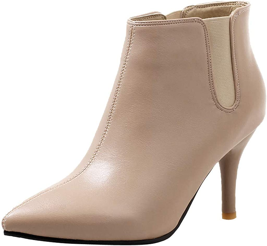 Limsea Womens Ladies Booties Stiletto Boots Pointed Shoes Leather Ankle Wild