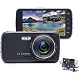 Dash Cam - Camecho 1080P FHD 170° Wide View Car DVR Dual Lens 4 inch Vehicle Driving Recorder, Support Reverse Function, Rear Camera 4 LED Night Vision, G-Sensor, Motion Detection, Parking Mode