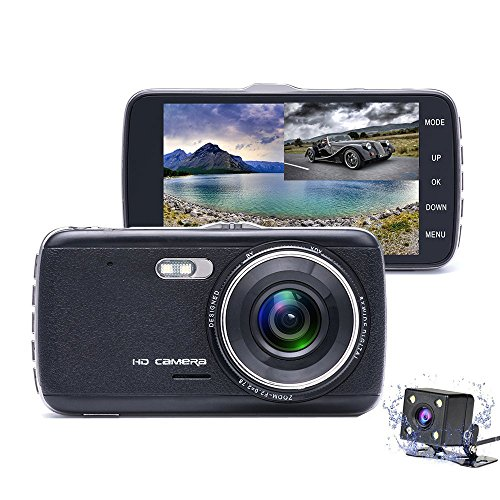 Camecho Dash Camera 1080P FHD 170° Wide View Car DVR Dual Lens 4 Inch Vehicle Driving Recorder, Support Reverse Function, Rear Camera 4 LED Night Vision, G-Sensor, Motion Detection, Parking Mode (Dvr Memory Card)