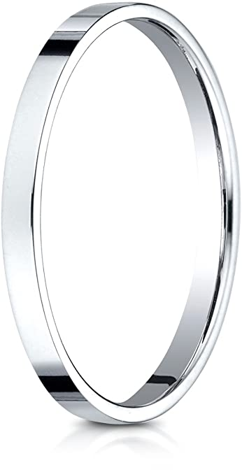 fb96f736e9ecd Benchmark 14K White Gold 2mm Traditional Flat Wedding Band Ring (Sizes 4 -  15 )