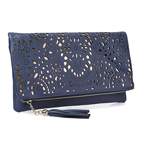 BMC Womens Navy Blue Perforated Cut Out Pattern Gold Accent Background Foldover Pouch Fashion Clutch Handbag