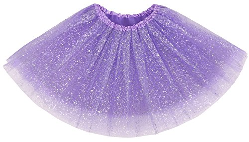Simplicity Women's Classic Elastic 3 Layered Tulle Tutu Skirt, Purple Sequin -