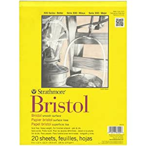 "Strathmore 300 Series Bristol Smooth Pad, 9""x12"" Tape Bound, 20 Sheets"