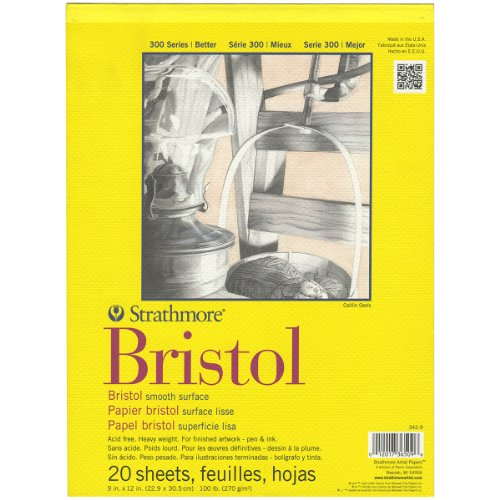 Strathmore Bristol Smooth Paper Pad, 9 by 12-Inch, 20 Sheets