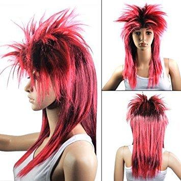 Fancy Dress Tina Turner - TOOGOO Red Black Ladies Glam Punk