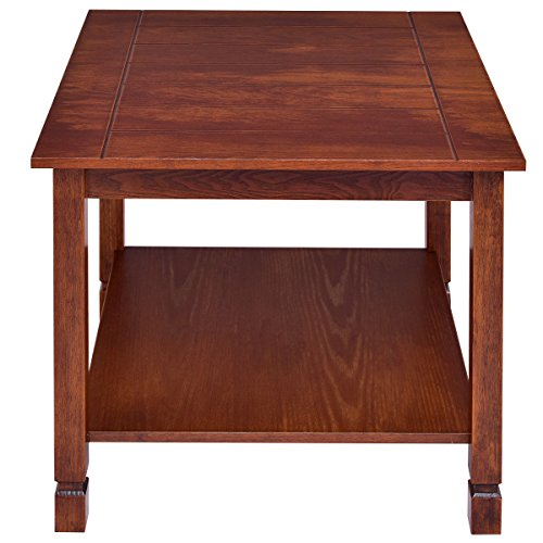 Giantex Pine Wood End Table with Shelf, 2-Tier Side Table with Storage Bedside Sofa Table for Living Room, Bedroom, Solid Sturcture Eco-Friendly Material Espresso Coffee Table Nightstand (Walnut) by Giantex (Image #4)