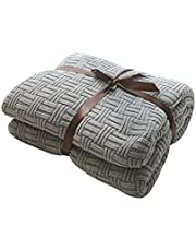 MYLUNE HOME 100% Cotton Stylish Knitted Throw Blanket for Watching TV or Nap on Chair,Sofa and Bed