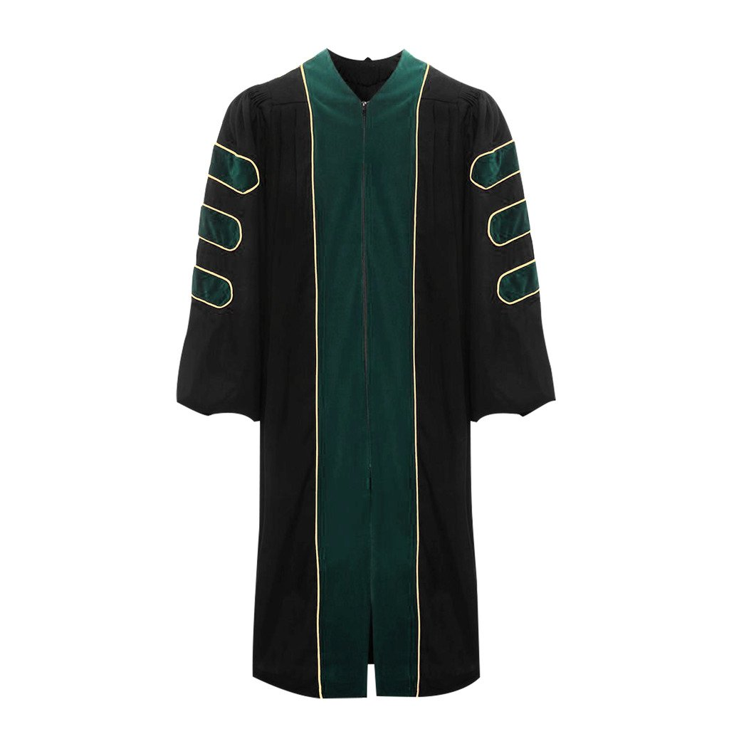 lescapsgown Deluxe Doctoral Graduation Gown-Green Trim Gold Piping(Green Size 51)