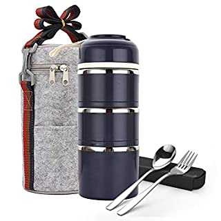 Stackable Bento Lunch Box, ArderLive Compartment Thermal Stainless Steel Insulated Lunch Container with Lunch Bag & Portable utensil , Leakproof Container for Office,Kids.(3Layer, Gray)