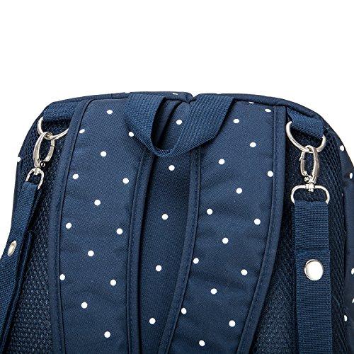 Cateep - Mochila multifuncional para cambio de pañales con ganchos para el cochecito negro negro Dark Blue Dot
