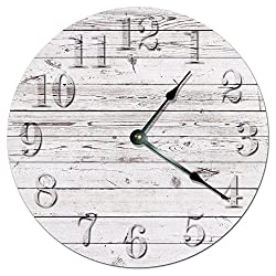 RUSTIC BEACH BOARD CLOCK Decorative Round Wall Clock Home Decor Wall Clock Large 10.5 Novelty Clock PRINTED WHITE WOOD BOARDS