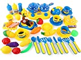 Toys Bhoomi Dream Kitchen Fun Games Cutting Play Food Fruits Vegetables Playset for Kids Early Age Development Educational Pretend Play Cooking Set - 43 Pieces